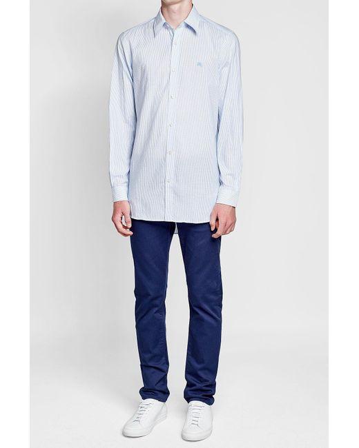 Burberry | Blue Striped Cotton Shirt for Men | Lyst