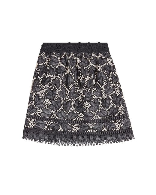 Anna Sui | Black Lace Appliqué Mini Skirt | Lyst