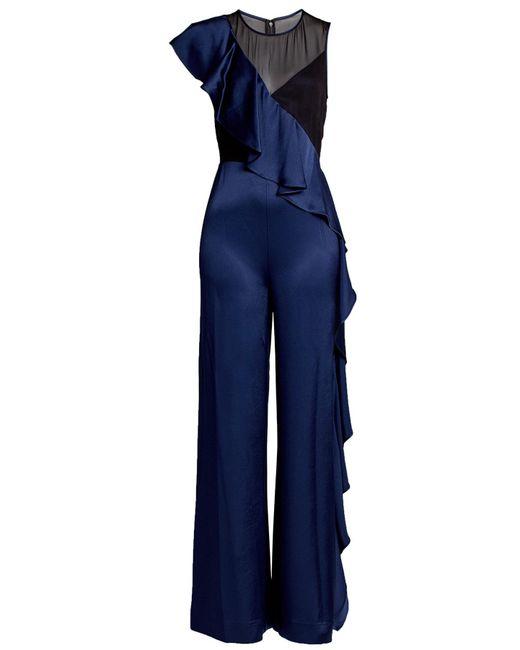 Diane von Furstenberg | Blue Silk Jumpsuit With Ruffles | Lyst