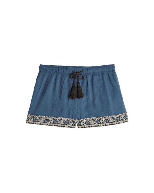 Christophe Sauvat - Blue Embellished Cotton Shorts - Lyst