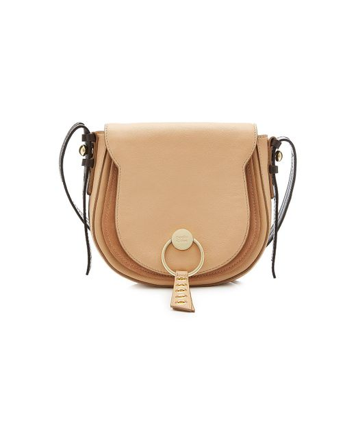See By Chloé - Natural Shoulder Bag With Leather And Suede - Lyst