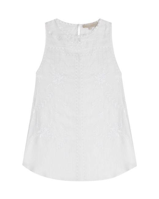 Vanessa Bruno | White Embroidered Ramie Sleeveless Blouse | Lyst