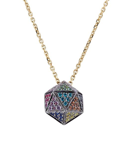 Noor Fares | Blue 18kt Icosagon Pendant Necklace With Diamonds | Lyst