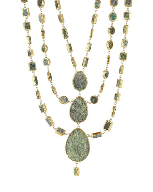 Pippa Small - Metallic Gold Plated Silver Necklace With Chrysocolla Stones - Lyst