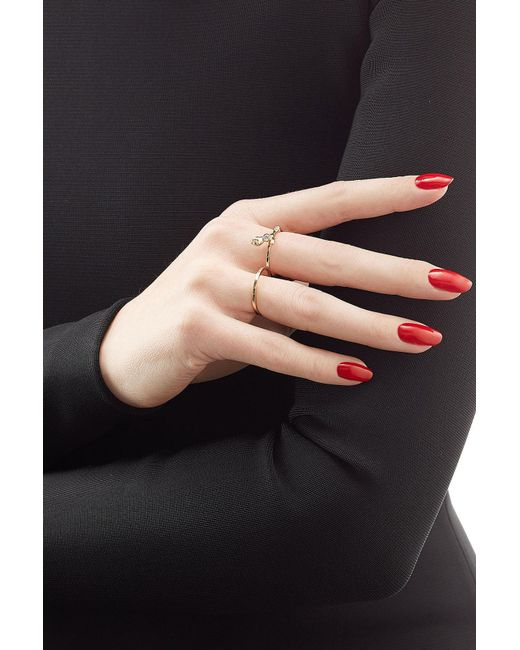 Sophie Bille Brahe | Metallic Arbre 18kt Yellow Gold Double Ring With White Diamonds | Lyst