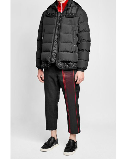 Moncler | Black Quilted Down Jacket With Hood for Men | Lyst