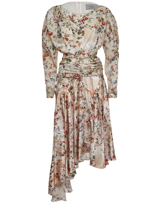 Preen By Thornton Bregazzi - Multicolor Kay Printed Silk Dress With Asymmetric Hem - Lyst