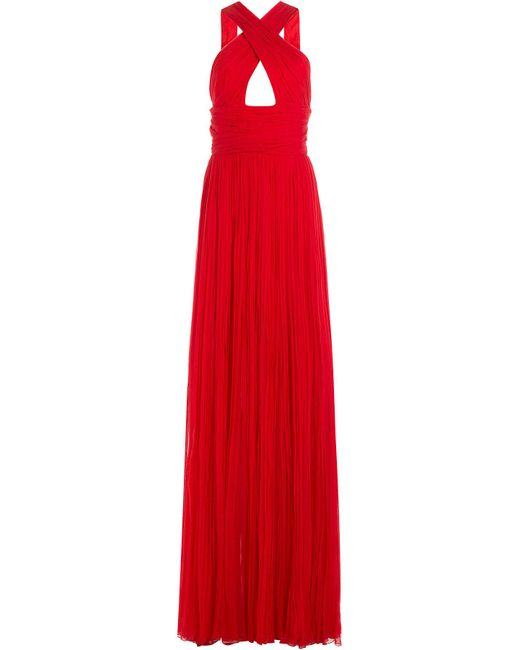 Roberto Cavalli | Red Floor Length Silk Gown | Lyst