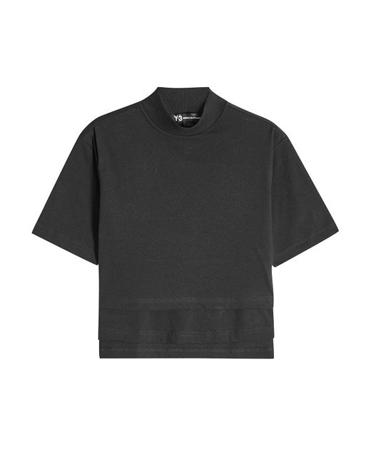 Y-3 - Black Cotton T-shirt With Logo Back - Lyst