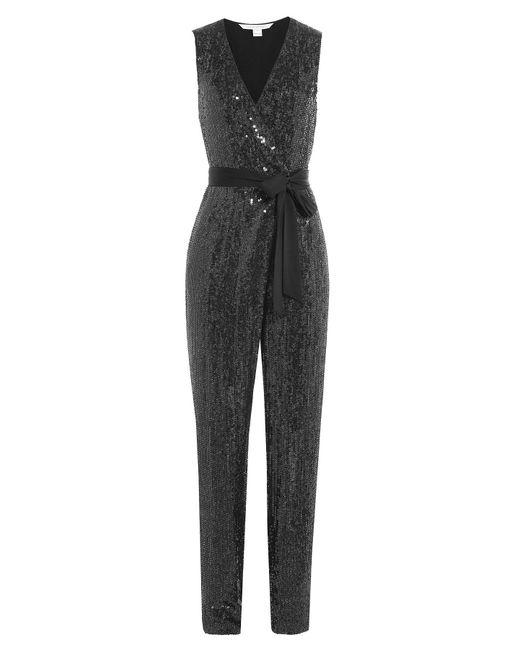 Diane von Furstenberg - Black Sequined Silk Jumpsuit - Lyst