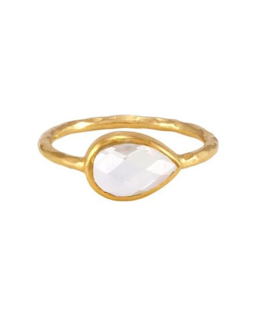 Melinda Maria | Metallic Nell Ring With Clear Stone | Lyst