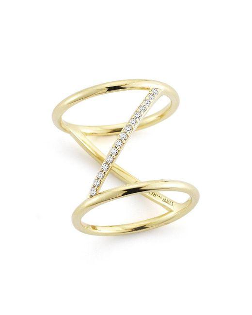 Elizabeth and James - Metallic Velde Ring - Lyst