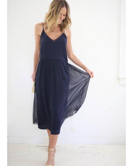 Kamperett   Blue Sade Silk Slip Dress Chiffon Overlay   Lyst