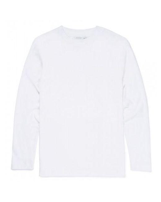 Sunspel - Men's Brushed Cotton Long Sleeve Mock Turtle T-shirt In White for Men - Lyst