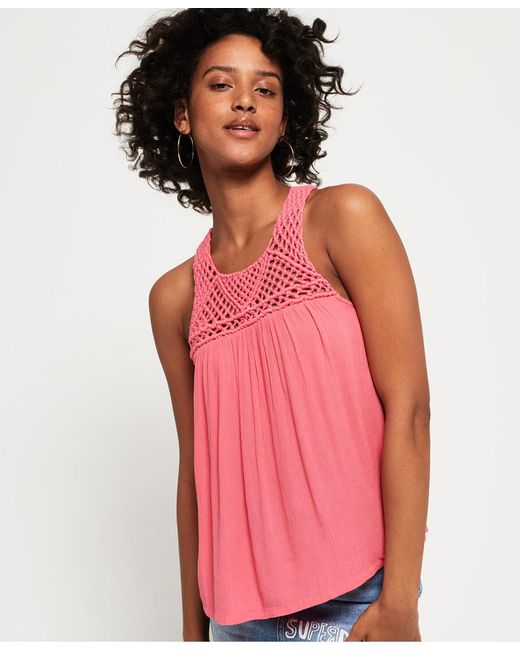 Superdry - Pink Alivia Knoy Tank Top - Lyst