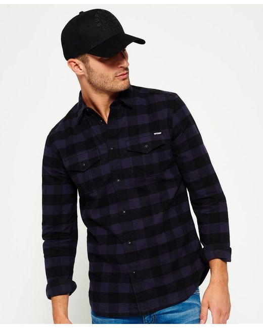 Superdry Rookie Plaid Shirt In Blue For Men