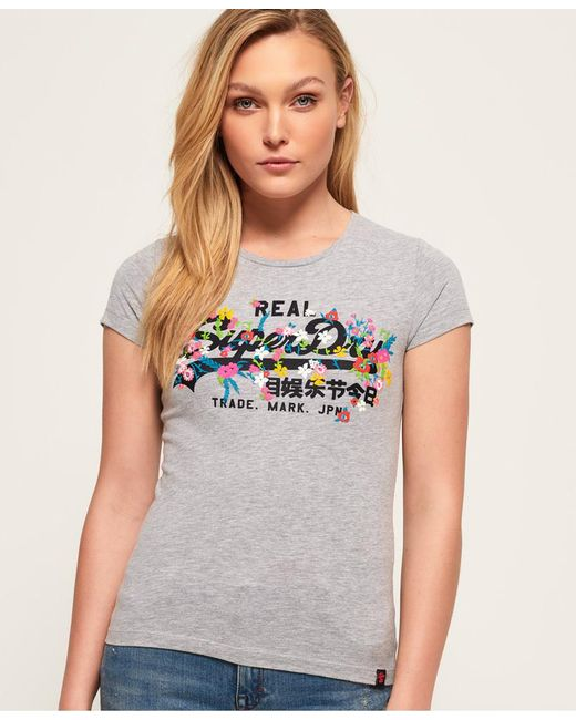 Superdry - Gray Vintage Logo Puff Embroidered T-shirt - Lyst
