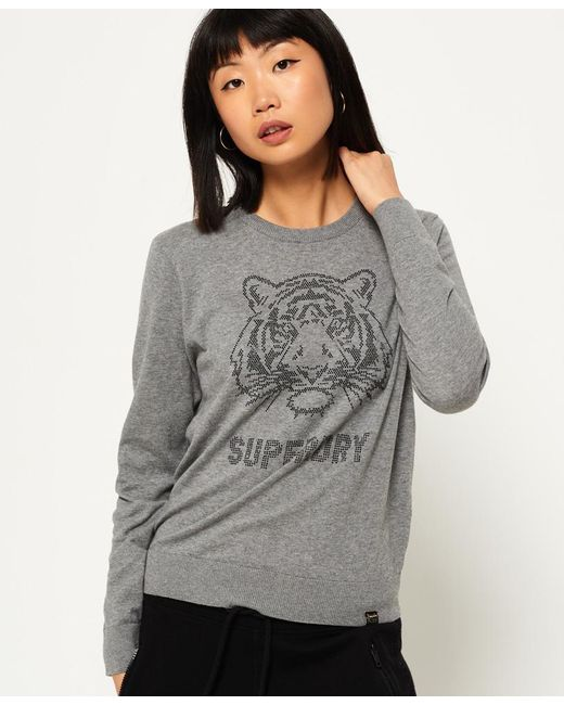 Superdry | Gray Tiger Gemstone Knit Jumper | Lyst