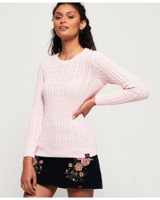 Superdry - Pink Croyde Bay Cable Knit Jumper - Lyst ... 56fb123dd