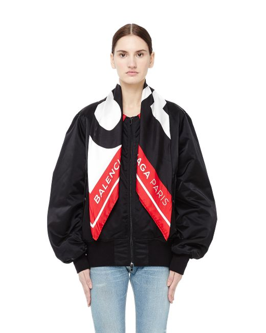 Balenciaga - Black Bomber Jacket With Scarf Collar - Lyst