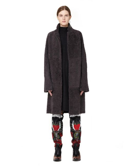 32 Paradis Sprung Freres | Gray Double-faced Shearling Coat | Lyst