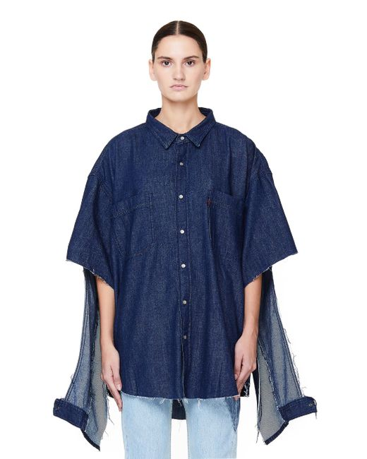 ae5625ffbc5 Vetements - Blue Oversized Denim Shirt With Cuts - Lyst ...