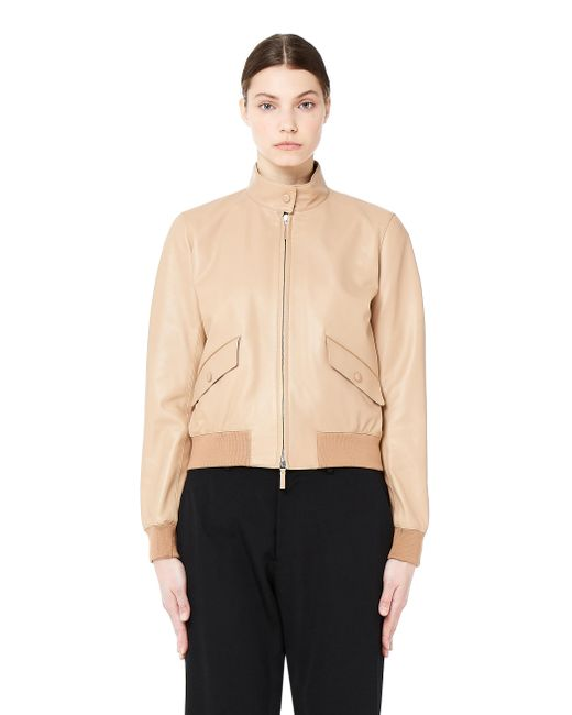The Row - Natural Erhly Leather Bomber Jacket - Lyst