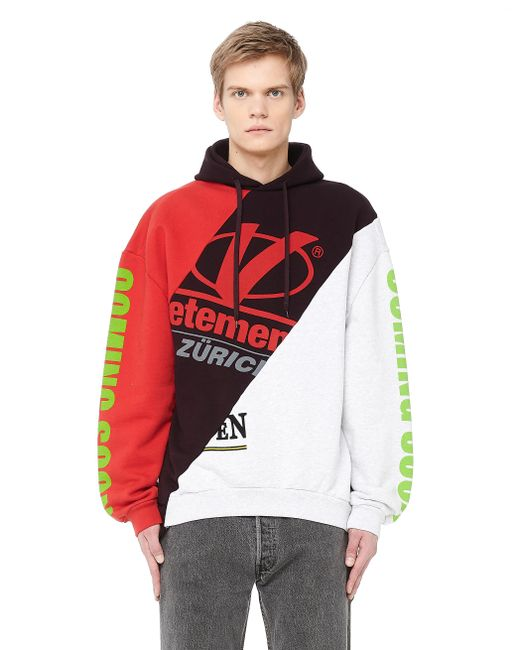 Vetements - Red Women's Printed Cotton Hoodie for Men - Lyst
