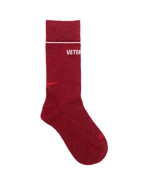 Vetements - Red Lurex High Logo Socks for Men - Lyst