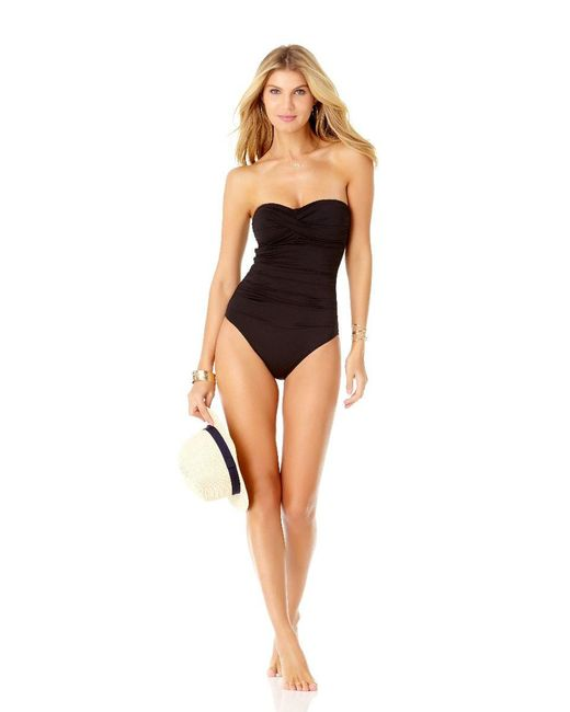 94f274bc2a866 ... Anne Cole - Black Live In Color Twist Front Shirred Bandeau One Piece  Swimsuit - Lyst ...
