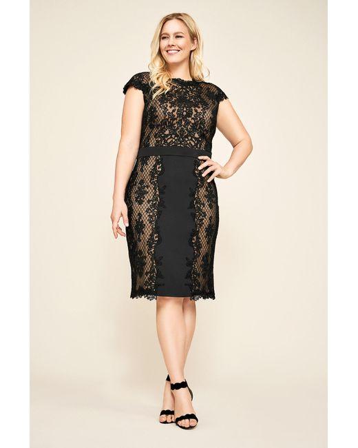 cb38e5970d87 Tadashi Shoji - Black Alexandra Embroidered Lace Dress - Plus Size - Lyst  ...
