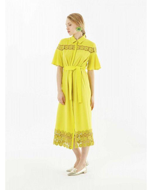 Roman - Yellow Lace Bottom Midi Dress - Lyst