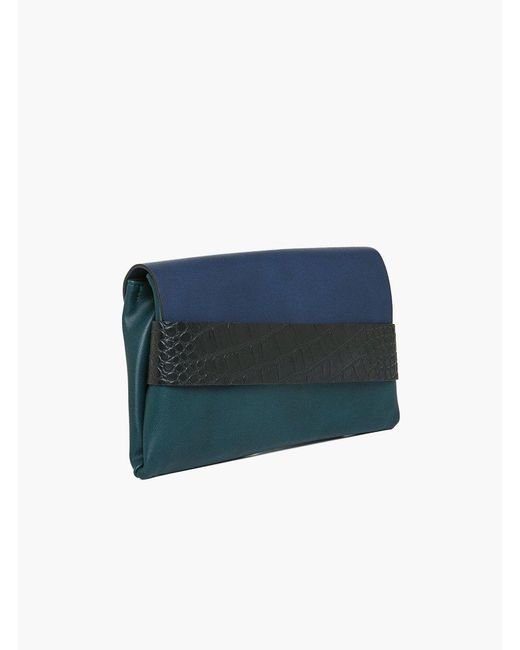 Roman - Blue Black Leather Detailed Clutch - Lyst