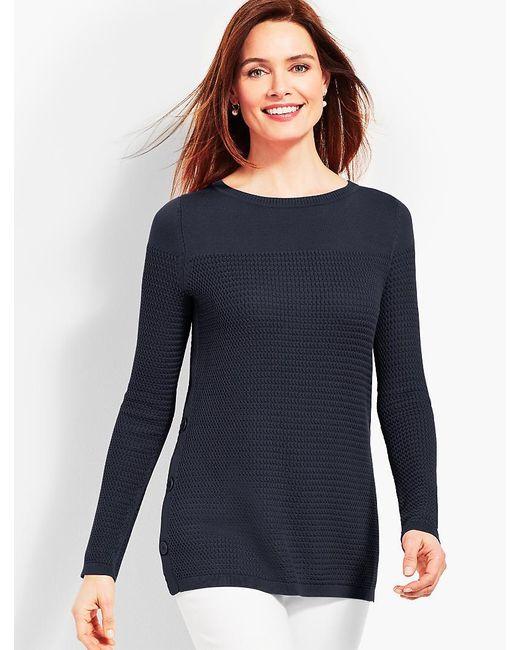 Talbots - Blue Side-button Bateau Sweater - Lyst