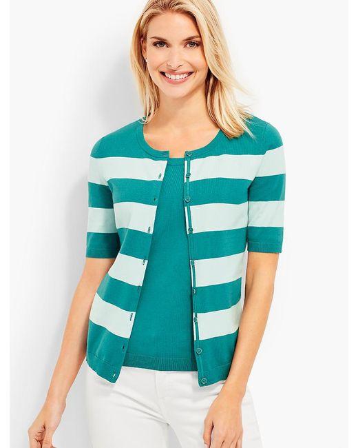 Talbots - Green Elbow-sleeve Charming Cardigan - Bold Stripes - Lyst