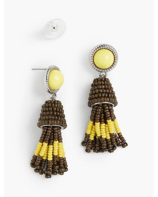 Talbots   Metallic Cabochon & Seed-bead Tassel Earrings   Lyst