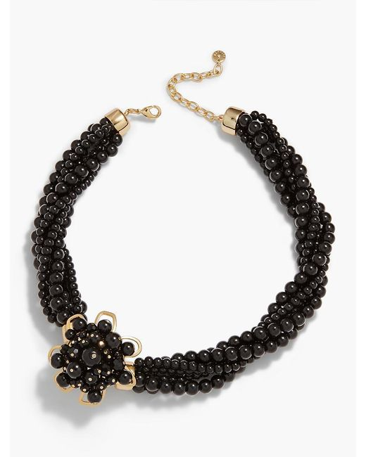 Talbots | Black Flower & Bead Necklace | Lyst