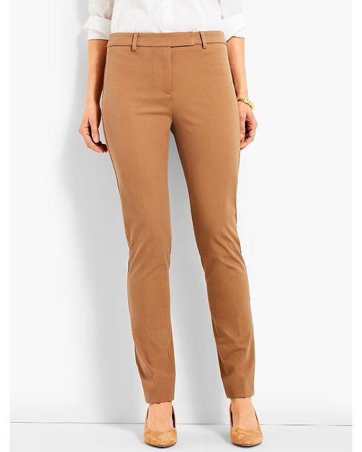 Talbots | Brown Bi-stretch High-waist Straight-leg Pant | Lyst