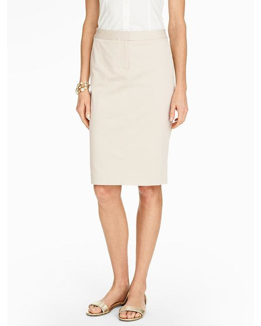 talbots luxe cotton pencil skirt in lyst