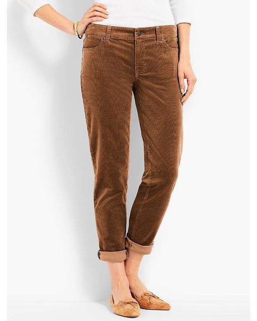 Talbots | Brown Flawless Cord Relaxed Ankle Boyfriend | Lyst