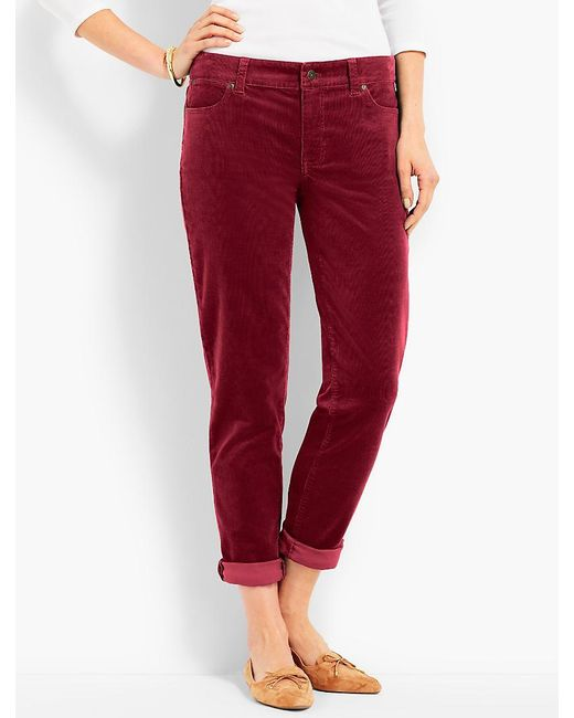 Talbots | Red Flawless Cord Relaxed Ankle Boyfriend | Lyst
