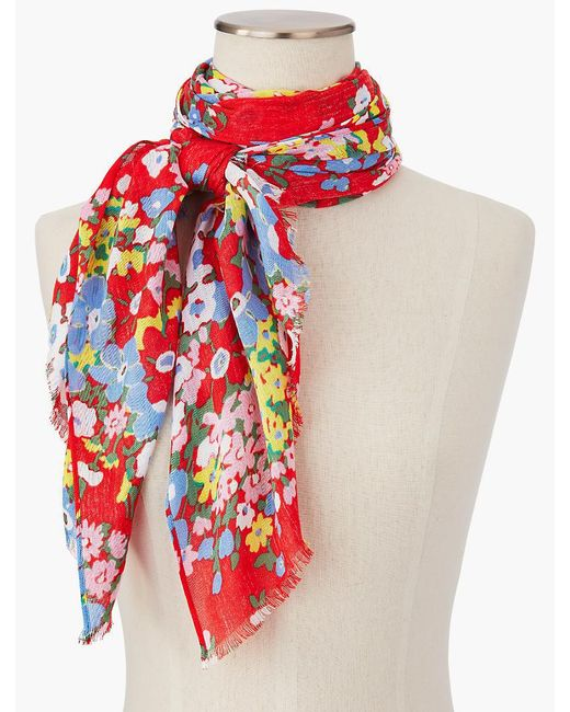 Talbots - Red Springtime Floral Scarf - Lyst