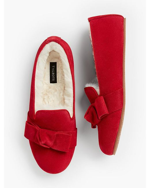Talbots - Red Ruby Shearling-lined Moccasin Slippers - Lyst