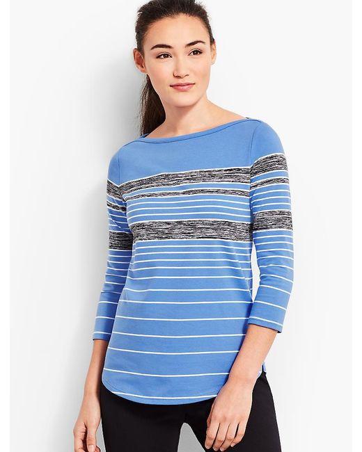 Talbots - Blue Bateau-neck Stripe Top - Lyst