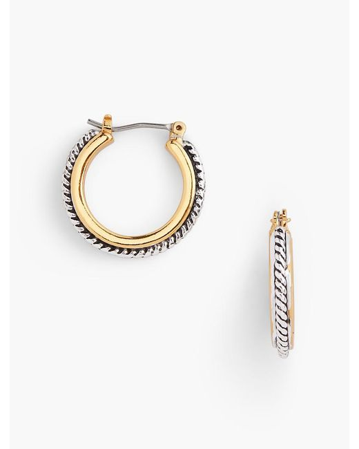Talbots - Metallic Textured Hoop Earrings - Lyst