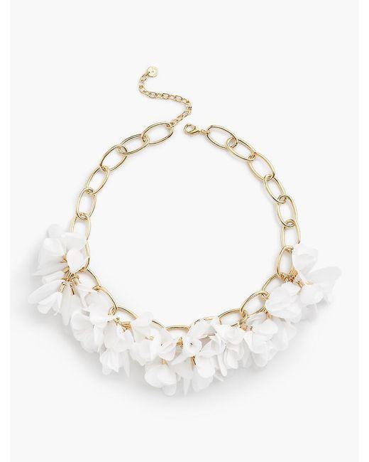 Talbots - Metallic Fabric Flower Necklace - Lyst