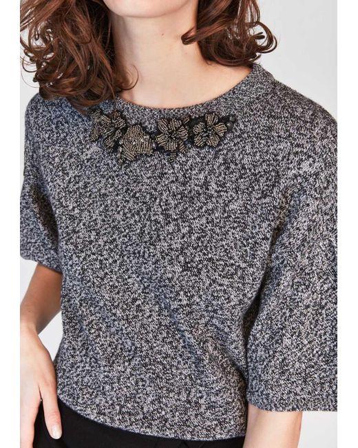 Tara Jarmon | Gray Grey Adorned Sweater | Lyst