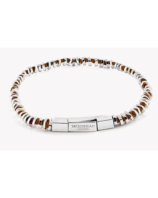 Tateossian | Orange Mini Click Silver Beads Bracelet for Men | Lyst