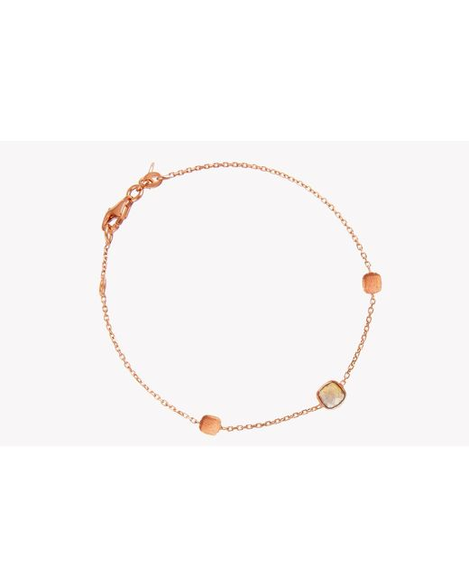 Tateossian | Metallic 14k Rose Gold Single Stone Belgravia Bracelet With Black Rutilated Quartz | Lyst