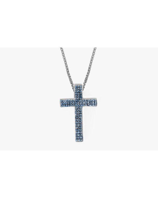 Tateossian | Blue Precious Cross Micro Pavé Necklace for Men | Lyst